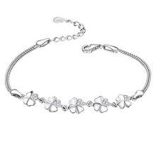 цена SA SILVERAGE Bracelet Female 925 Sterling Silver Star Bracelets & Bangles for Women Jewelry Rhinestone 2020 Love Bracelet онлайн в 2017 году