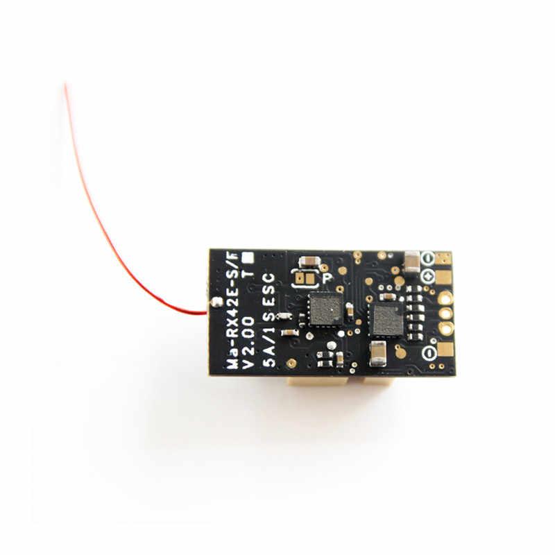 Oversky MA-RX42E-F2 + avançado rc mini receptor de telemetria compatível FrSky-D16 embutido 5a 1 s esc sem escova para rc zangão fpv parte