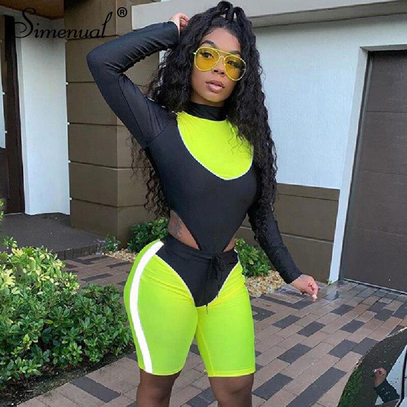 Simenual Fitness Women Sportswear Neon Patchwork Backless Fashion 2 Piece Set Long Sleeve Bodysuit And Biker Shorts Matching Set