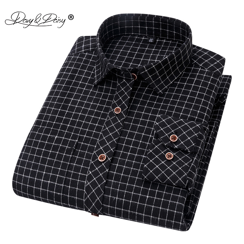 DAVYDAISY 2020 New Autumn Man Shirt Long Sleeved Striped Slim Fit Male Social Causal Business Shirt Men Brand Clothes DS343
