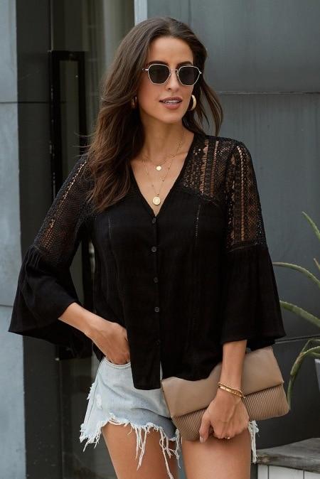 AYUALIN White Flare Sleeve lace blouses Women Top vintage V Neck Hollow Summer blouse shirt 2020 Casual boho blusas plus size Women Women's Blouses Women's Clothings