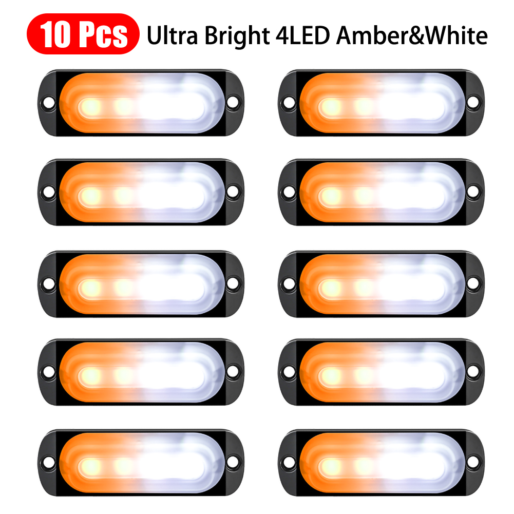 10pcs Strobe LED Light White Amber Emergency Hazard Flashing Tow Truck Warning Trailer Light Signal Light Daytime Running Light