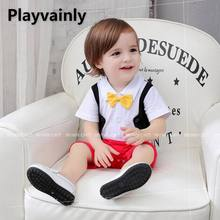 Wholesale Baby boy Summer Romper 2021 New Yellow Bow Tie Short Sleeve Cotton Romper Toddler Clothing E12539