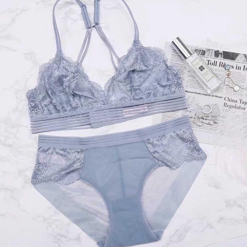 2020 sexy laço 3/4 xícara de algodão fino feminino wirefree sutiã e calcinha conjunto de roupa interior transparente não-anel ultra-fino conjunto de sutiã de renda