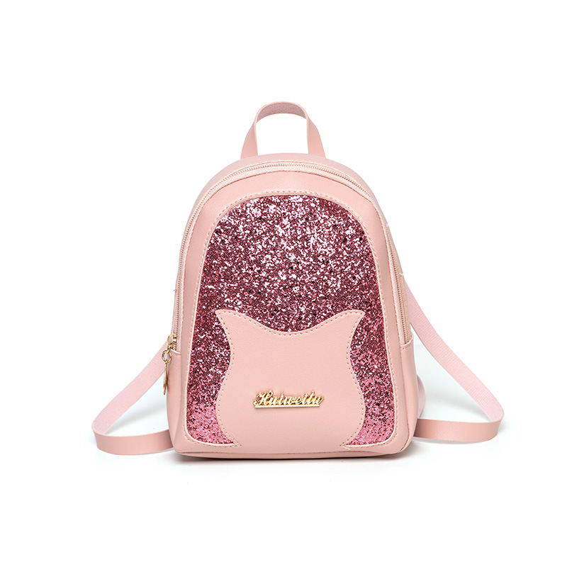 Girl's Mini Backpack 2019 Fashion Shining Sequin PU Leather Shoulder Bag Women Multi-Function Small Back Pack