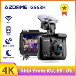 AZDOME видеорегистратор GS63H 4K Встроенный GPS координаты скорости WiFi DVR Двойная линза Автомобильная камера видеорегистратор ночного видения 24H ...