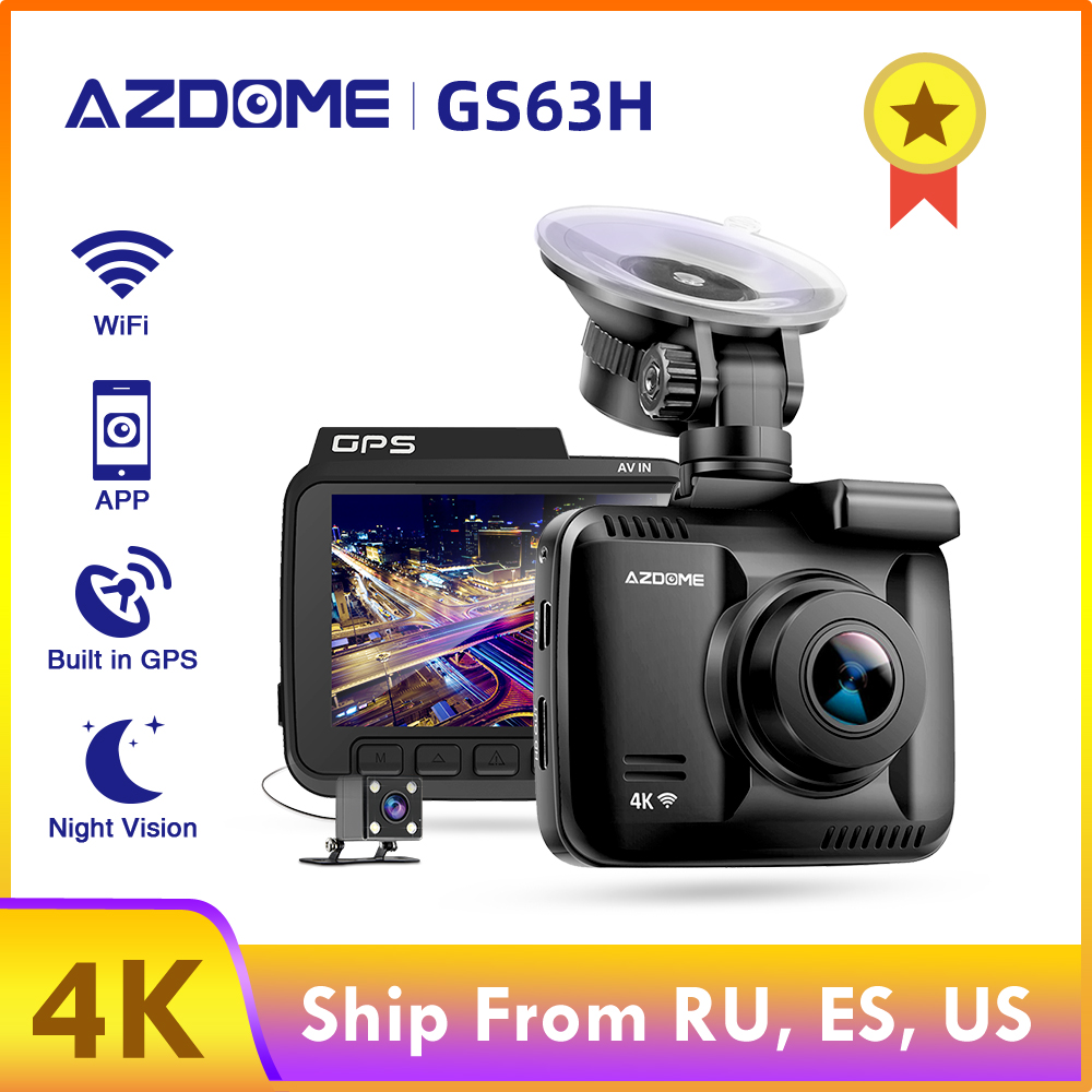 AZDOME Dash Cam GS63H 4K Built in GPS Speed Coordinates WiFi DVR Dual Lens Car Camera Dash Camera Night Vision Dashcam 24H Park
