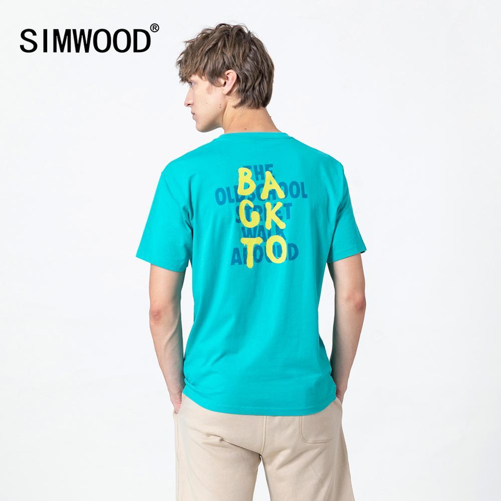 SIMWOOD 2020 yaz yeni mektubu baskı t-shirt erkekler 100% pamuk nefes rahat üstleri artı boyutu yüksek kaliteli tshirt SJ170711