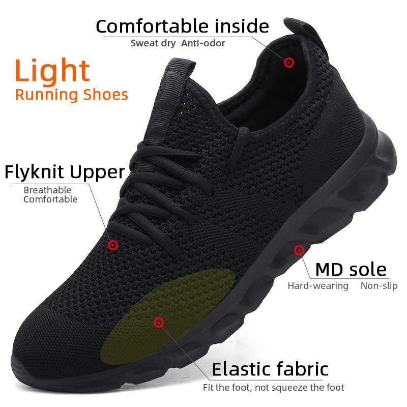 Mannen Licht Loopschoenen Flyknit Ademend Lace-Up Jogging Schoenen Voor Man Sneakers Anti-geur Mannen Casual schoenen Drop Shipping
