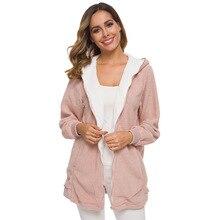 European and American new ladies lamb wool winter zipper hooded jacket