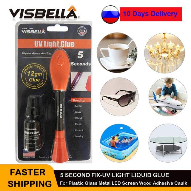 VISBELLA 2020 UV Light Super Glue 5 Second Fix Pen Plastic Glass Metal LED Screen Wood Adhesive Caulk Waterproof Heat Resistant