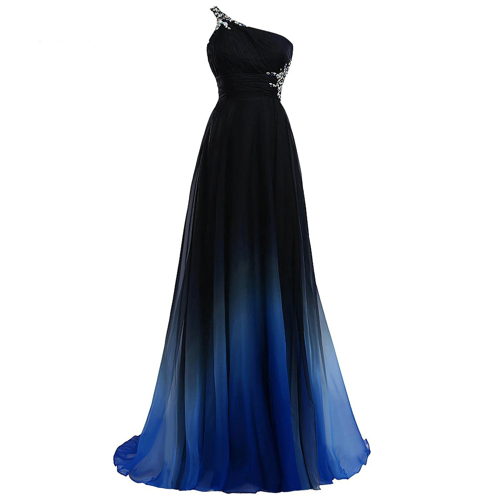Sexy Criss-Cross Back One Shoulder Ombre Blue Black Red Chiffon Long Prom Dresses 2020 Real Photos Formal Party Gowns