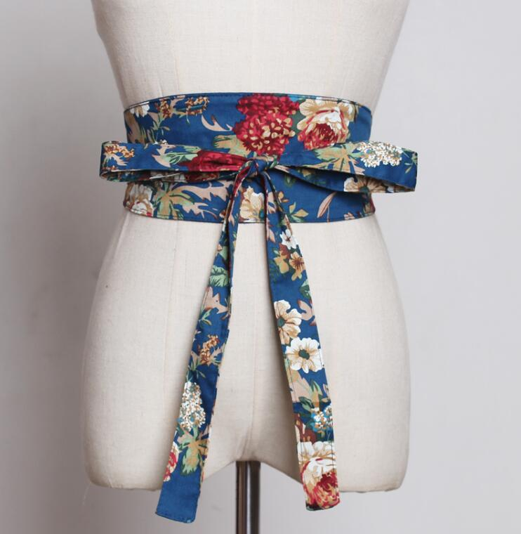 Women's Runway Fashion Flower Print Cummerbunds Female Dress Coat Corsets Waistband Belts Decoration Wide Belt R1784