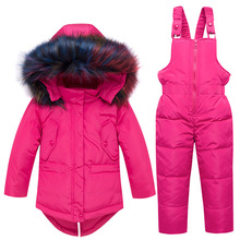 Winter Warm 90% White Duck Down Baby Girls Clothing Sets Fur Collar Child Coat+Pant Children Outerwear Kids For 85-110cm