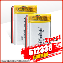 3.7v 600mAh 612338 1/2/4Pcs  lithium polymer battery 3 7V volt li po ion lipo rechargeable batteries for dvd GPS navigation