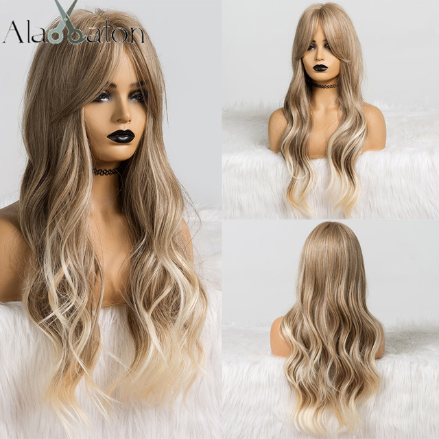 ALAN EATON Long Ombre Light Ash Brown Blonde Wavy Wig Cosplay Party Daily Synthetic Wig for Women High Density Temperature Fibre 1