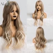 ALAN EATON długi Ombre jasnobrązowy blond peruka z falowanymi włosami na imprezę Cosplay codzienna peruka syntetyczna dla kobiet wysoka gęstość temperatury włókna
