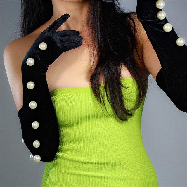 Guantes de terciopelo negro para mujer, 2cm, cordón de perla blanca de gran tamaño 60cm de largo, elástico negro, dorado, terciopelo, guantes de noche para mujer WSR24