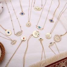 Layered Necklace Gold-Chain Eye-Coin-Pendant Crystal Stylish-Accessories Evil Bohemian