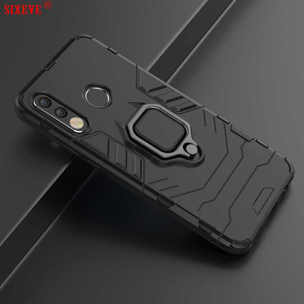 Mewah Cincin Magnetik Mobil untuk Huawei P20 P30 Lite Kehormatan 10 Bermain Mate 20 Pro P Smart Nova 3 3i 3E 4 5 Menutupi Ponsel Casing