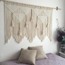 マクラメ壁掛け手織りボヘミアン綿ロープ自由奔放に生きるタペストリー家の装飾
