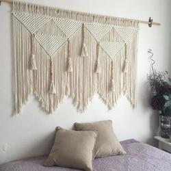 Macramé colgante de pared tejido a mano cuerda de algodón bohemio tapiz decoración del hogar