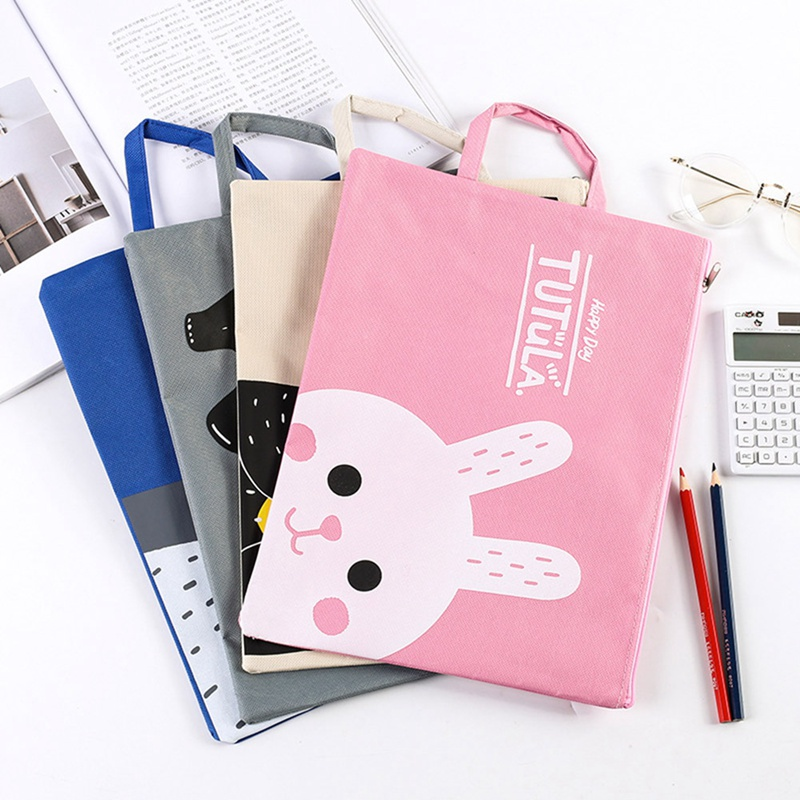 A4File Bag Cartoon White Bear Duckling Bunny Zipper Oxford Cloth Waterproof Material Paper Organizer File Bag Hand Bag Portable
