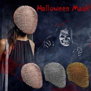 Шипованные шипы полное лицо драгоценность Margiela лицо покрытие Хэллоуин косплей Смешные маски косплей реквизит страшные вечерние принадлеж...