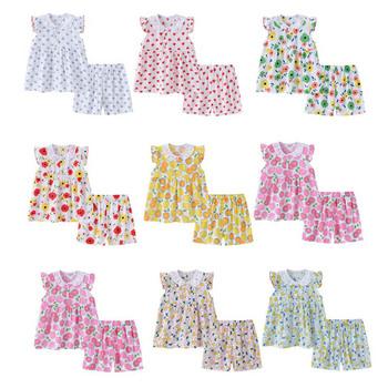 Nowy 2021 letnie dziecko dwuczęściowy zestaw bawełna odzież domowa garnitur dziewczyny ubrania Kid piżamy zestaw dziecięcy śliczne piżamy 1-4T tanie i dobre opinie TOP SKY KIDS COTTON Linen CN (pochodzenie) Lato 7-12m 13-24m 25-36m 4-6y Floral Wykładany kołnierzyk PIŻAMY SHORT REGULAR