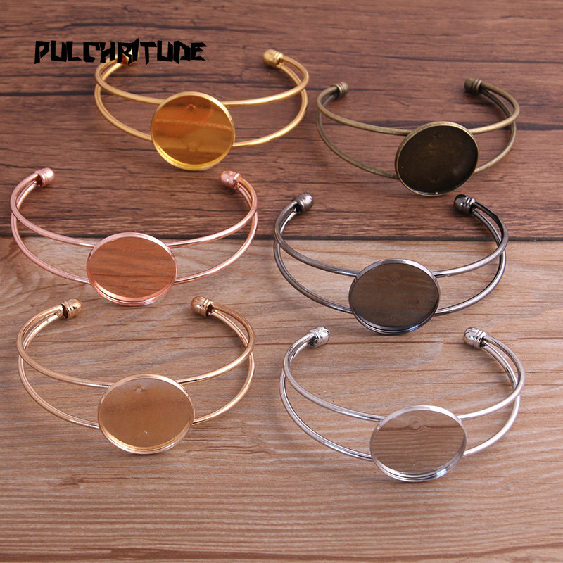 PULCHRITUDE 1pcs Antique Bronze Silver KC Gold Plated Bangle Base Bracelet Blank Findings Tray Bezel Setting 25mm Cabochon Cameo