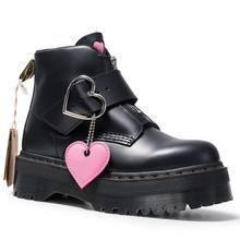Botas hasta el tobillo para mujer, zapatos de plataforma de nieve con tacón plano de cuero grueso, botines góticos con piel, para invierno, 2020