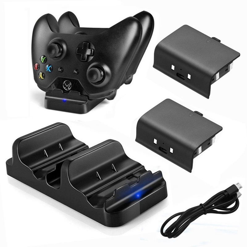 Dual Charging Dock Station+ 2 Rechargeable Batteries Fast Charger Dock for Xbox One X/Slim Controller Battery Pack for Xbox One