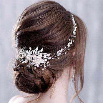 Modne kwiaty perła opaska z kryształami ślubna opaska do włosów ślubne akcesoria do włosów chluba ślubna dla kobiet biżuteria ślubna Handmade tanie i dobre opinie AiliBride Ze stopu cynku Kobiety FD088 PLANT TRENDY Opaski Hairwear Moda Pearl Symulowane perłowej