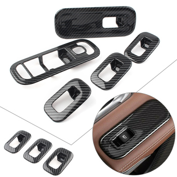 Car Inner Door Window Switch Panel Cover Trim Decorate For Mercedes Benz W177 A-Class A200 A220 A250 2019 Carbon Fiber Style ABS image