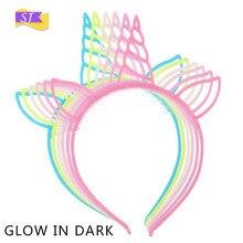 2019 hot childrens unicorn cat ears glow in dark headband Christmas birthday party cute girl holiday luminous hair accessories