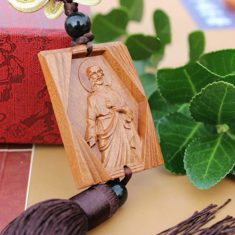 Icon Orthodox Christianity Supplies Rosewood Carving Jesus Loves You Car Suspension Decoration Household Items Pendant Ornaments