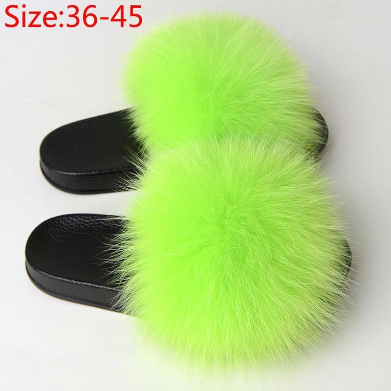 Women Fur Fluffy Flat Slippers Female Furry Plush Fox Hair Indoor Slides Ladies Casual Woman Shoes Fashion Plus Size Summer 2020
