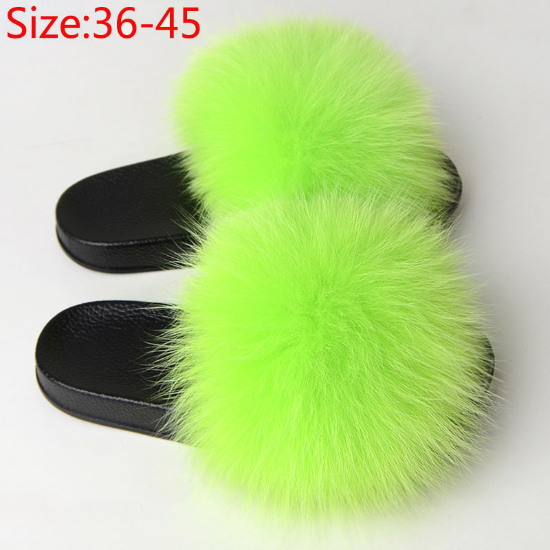 Women Fur Fluffy Flat Slippers Ladies Indoor Slides Furry Plush Fox Hair Female Casual Woman Shoes Fashion Plus Size Summer 2020
