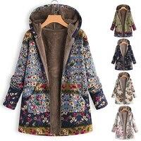пальто Женское зимнее повседневное пальто с цветочным принтом, теплое флисовое пальто с капюшоном, Женское пальто большого размера с карма...