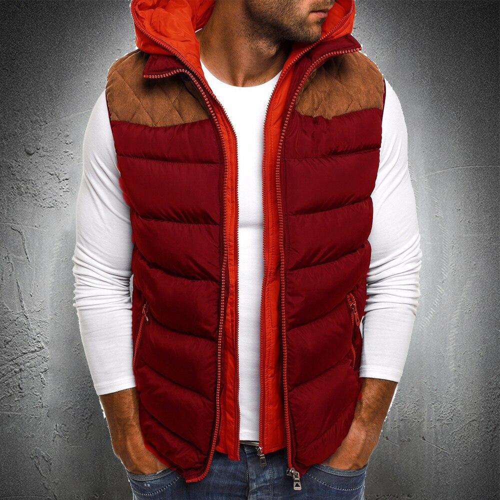 Жилет мужской со съемным капюшоном, куртка-пуховик без рукавов, теплая Осенняя модная одежда