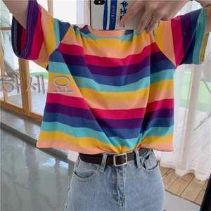 T-Shirt Top Short-Sleeve Women's Clothing Round-Neck Loose   Rainbow-Stripe Fashion Women