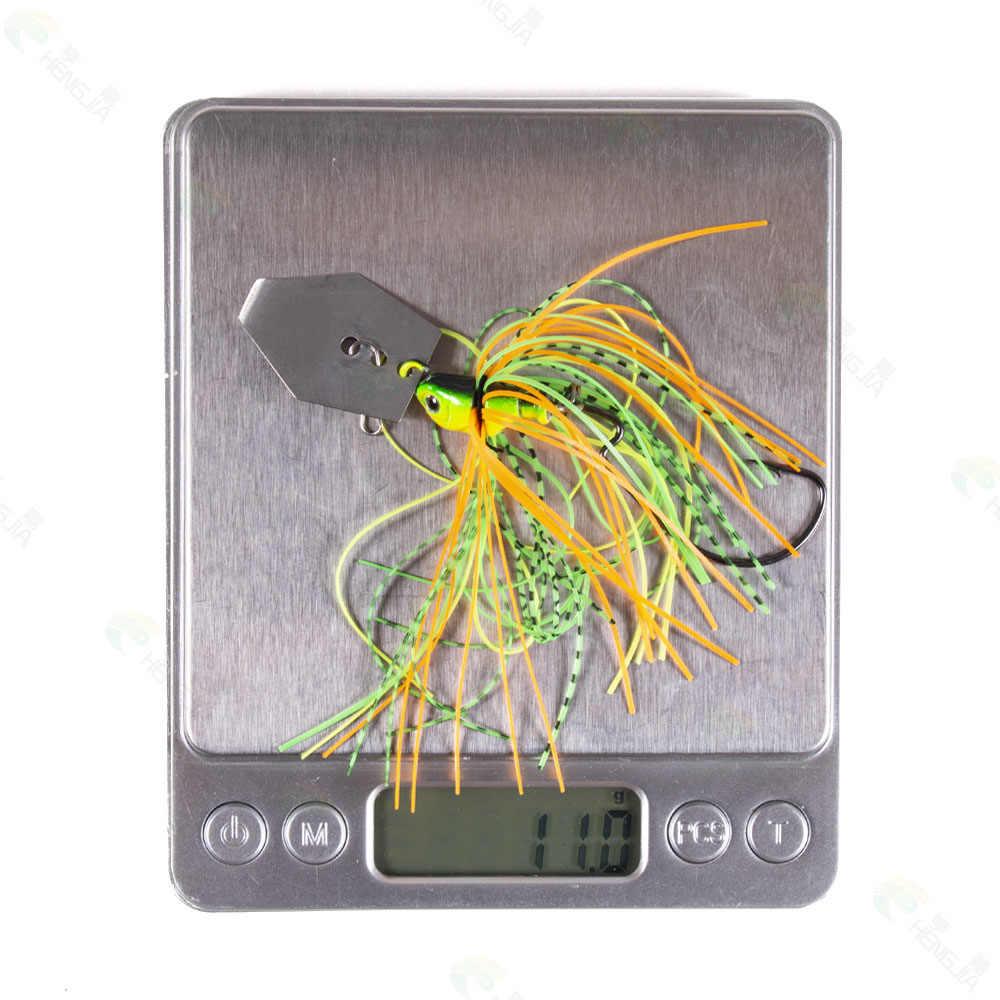 HENGJIA 10cm 11g spinner cebo señuelo de pesca Buzzbait charm bait wobbler isca falda de goma artificial para Lucio carpa señuelo