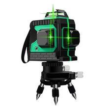 Лазерный уровень 12 линий 3D уровень самонивелирующийся горизонтальный и вертикальный крест мощный зеленый 360 градусов Регулировка более высокая видимость