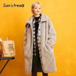 SAM'S BOOM Grijs Solid Patchwork Straight Fleece Gewatteerde Warme Jas Vrouwen 2019 Winter Stand Kraag Locomotief Losse Vrouwelijke Outwears