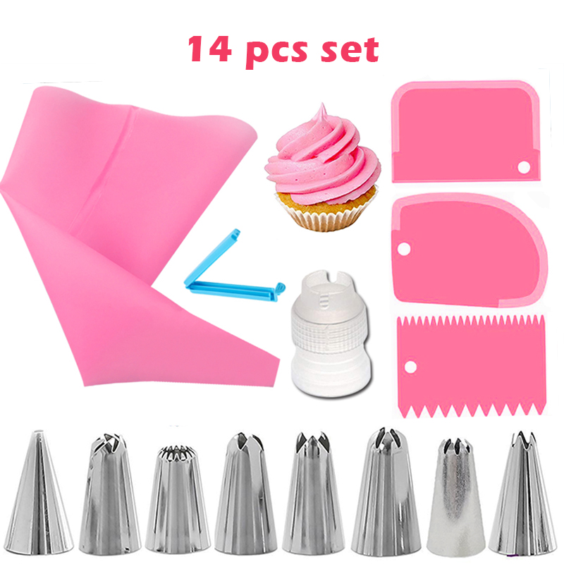 14 Pcs Icing Piping Nozzles Set DIY Baking Cream Pastry Bag Stainless Steel Cake Decorating Tools Tasteless Kitchen Bakery