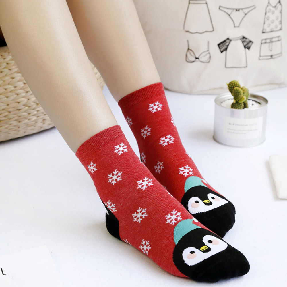 Cute <font><b>Unisex</b></font> Xmas Women's Socks Casual Winter Christmas Socks Animal Cartoon Pattern Sock Cotton Keep Warm <font><b>calcetines</b></font> de <font><b>navidad</b></font> image