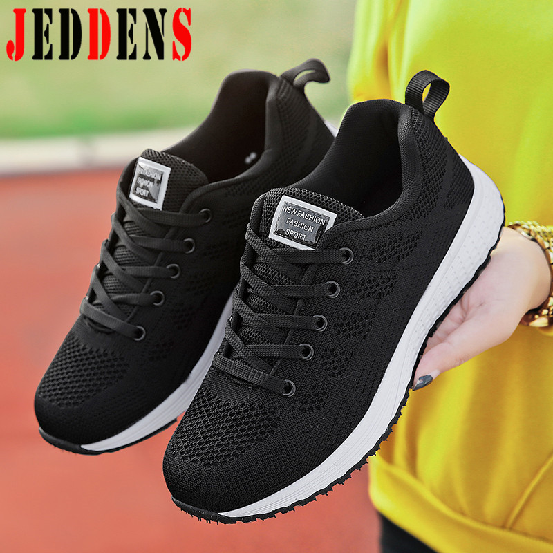 Women's Sports Shoes Female Autumn Black Sneakers Big Size Ladies  Running Shoes Air Flat Sports Shoes For Women Low Top Shoe Q9