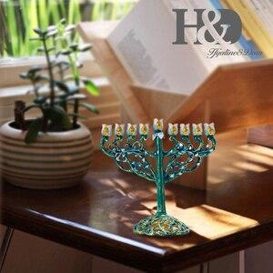 Image 5 - H&D Hand painted Hanukkah Menorah Jewish Lamp 9 Branch Jerusalem Temple Jewish Candle Holder Chanukah Candlesticks Decoration