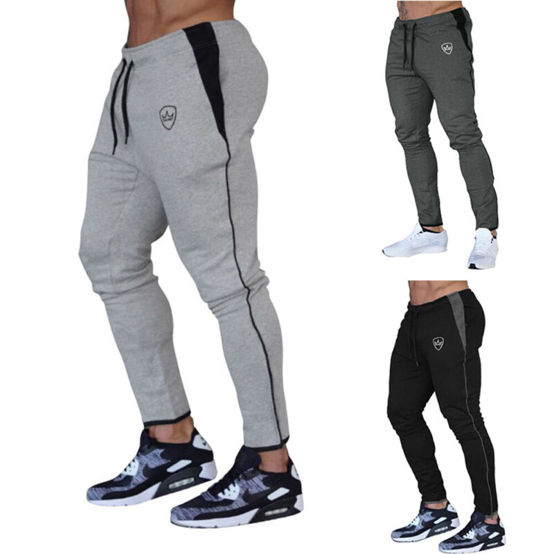 US Mens Slim Fit Tracksuit Sport Gym Skinny Jogging Joggers Sweat Pants Trousers