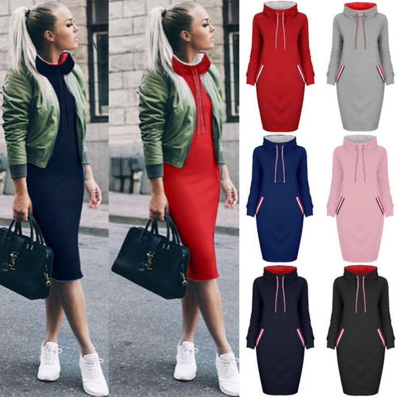 Plus Size Autumn Winter Warm Sweatshirt Long Sleeve Dress 2019 Women Turtleneck Drawstring Hoodies Female Pockets Midi Dresses